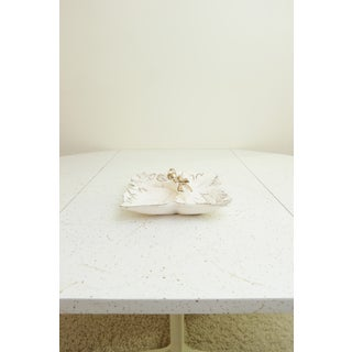 Vintage Japanese Decorative White & Gold Ceramic Dish Preview