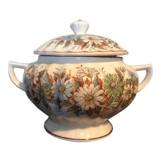 Vintage Japanese Royal Sealy 3 Quart Ceramic Soup Tureen With Floral Pattern For Sale