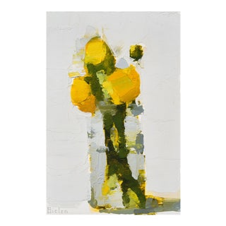 """Stanley Bielen """"Aglow"""" Yellow Floral Still Life Painting on Paper For Sale"""
