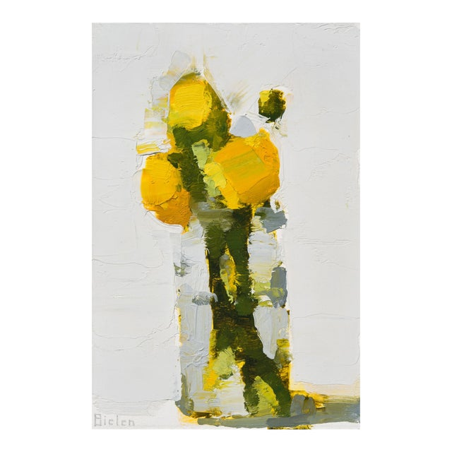 "Stanley Bielen ""Aglow"" Yellow Floral Still Life Painting on Paper For Sale"