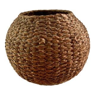 Vintage Handcrafted Round Basket For Sale