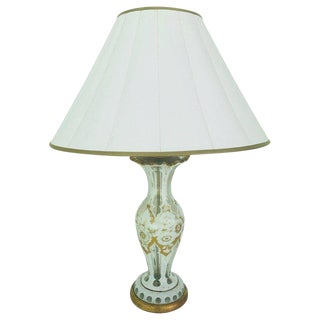 French Gold & White Floral Decorated Glass Lamp For Sale