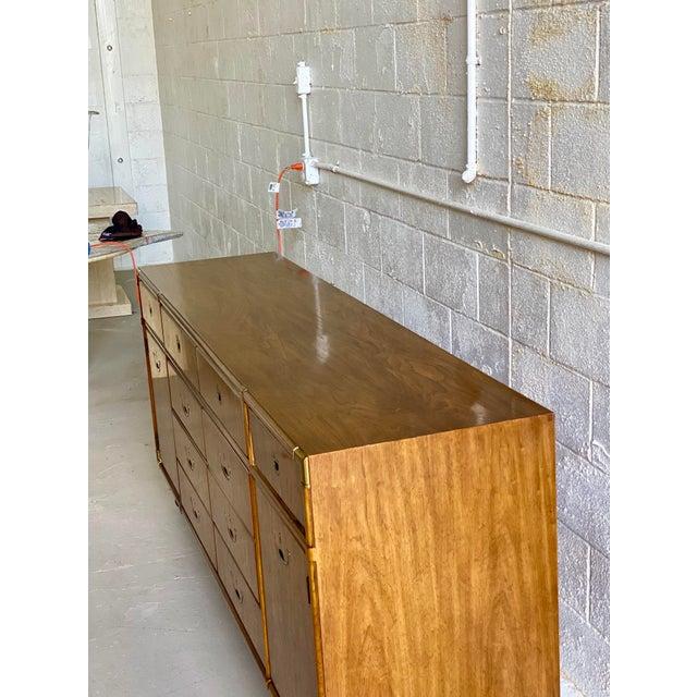 Campaign 1970s Vintage Drexel Campaign Accolade Dresser For Sale - Image 3 of 10