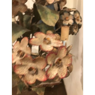 1950s Tole Italy Chandelier Hydrangea Floral Candelabra Swag Ceiling Light Fixture Preview