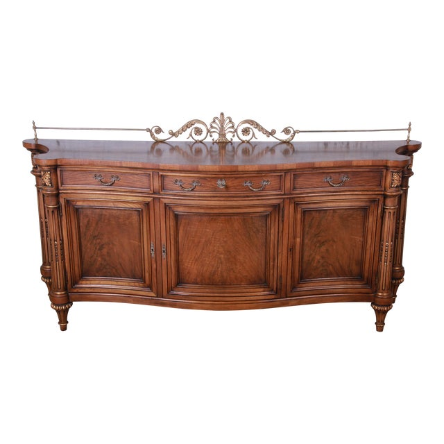 Karges French Louis XVI Style Walnut and Burl Wood Sideboard / Bar Cabinet For Sale