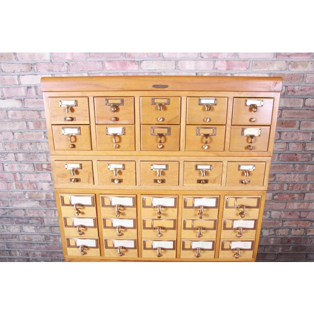 Remington Rand Mid-Century Modern 35-Drawer Library Card Catalog by Remington Rand For Sale - Image 4 of 13