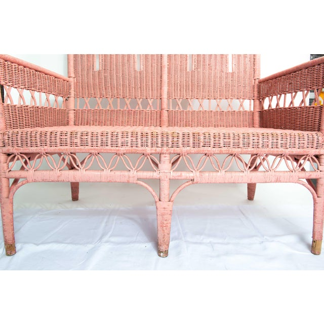 1950s Boho Chic Pink Rattan Settee or Love Seat For Sale In New York - Image 6 of 11