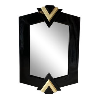1980s Lacquered Black Mirror With Triangle Detail For Sale