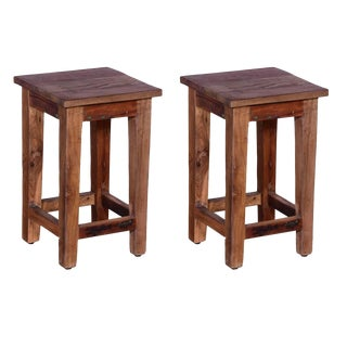 Jaidan Wooden Stool - A Pair