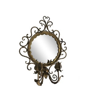 Hollywood Regency Shabby Italian Wrought Iron Wall Mirror with Candle Sconce For Sale