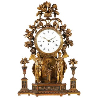 Period Neoclassical Early 19th Century Carved Giltwood Mantel Clock, Vienna For Sale