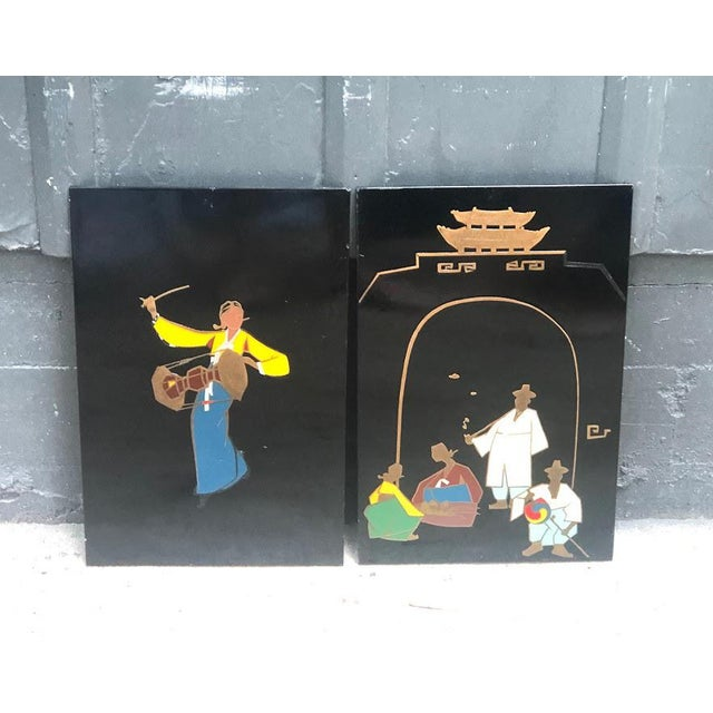 Metal 1940s-50s Lacquered Korean Copper Inlay Enamel Art - A Pair For Sale - Image 7 of 7