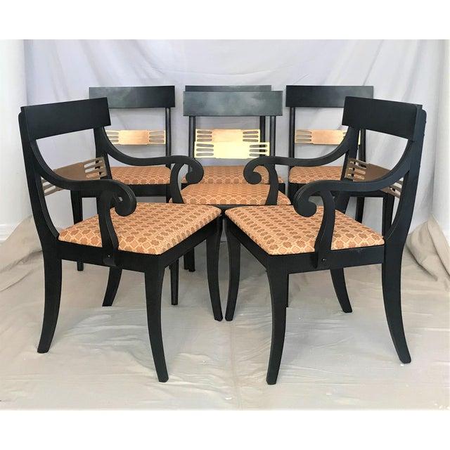 1940s 1940s Regency Klismos Parcel Gilt Dining Chairs - Set of 6 For Sale - Image 5 of 7