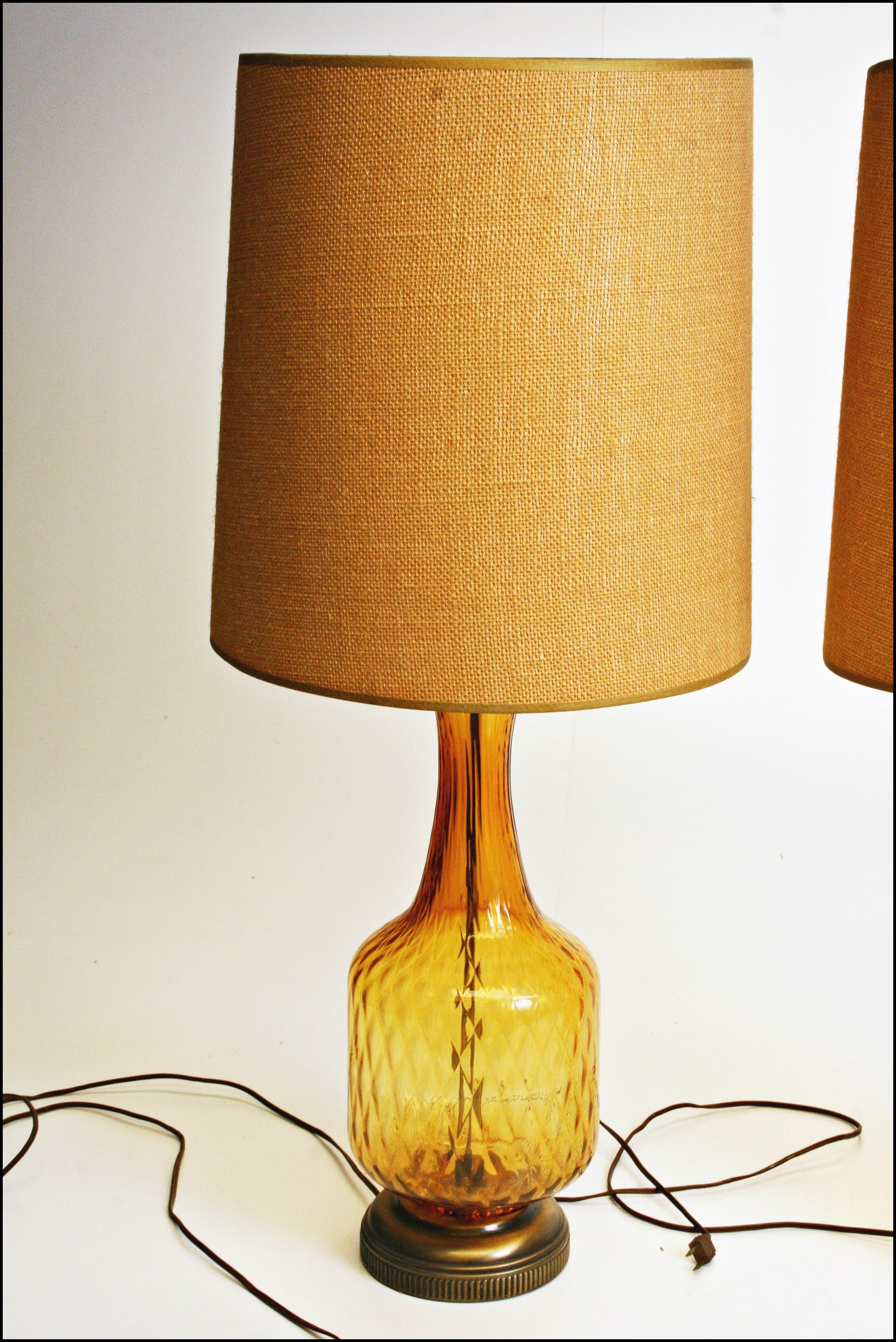Mid Century Amber Glass Table Lamps   A Pair   Image 9 Of 11