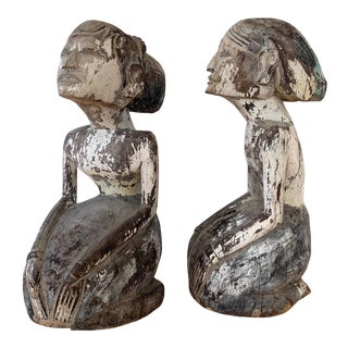 Antique Pair of Indonesian Wood-Carved Statues For Sale