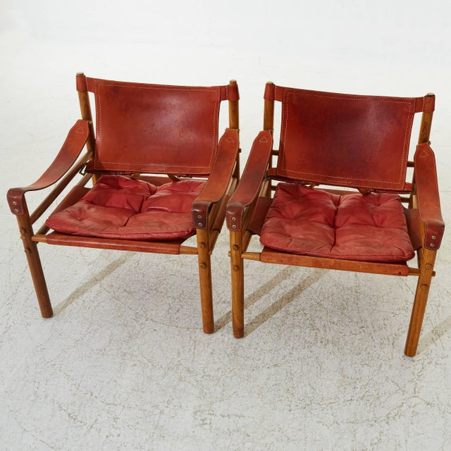Arne Norell Arne Norell Rosewood and Leather Safari Sirocco Chairs, Sweden, 1960s For Sale - Image 4 of 5