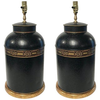 Pair of Regency Style Gilt Decorated Tole Tea Canisters, Now as Lamps For Sale
