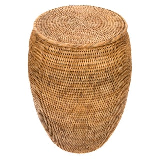 Artifacts Rattan End Table With Lid For Sale