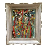 Image of Vintage Mid Century Abstract Portrait Oil Painting Basquiat Style For Sale