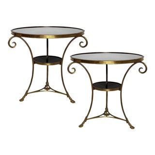 Louis XVI Style Two-Tier Bronze Dore' and Marble Guéridons - A Pair For Sale