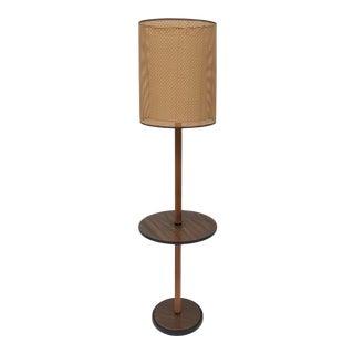 Mid-Century Modern Floor Lamp With Woven Lattice Shade For Sale