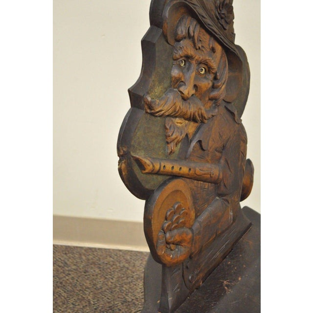 Antique Hand Carved Wood Figural Bard Musician Medieval Gothic Tavern Side Chair For Sale In Philadelphia - Image 6 of 11