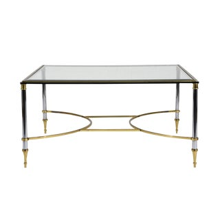 Mid-Century Modern-style Chrome and Brass Coffee Table For Sale