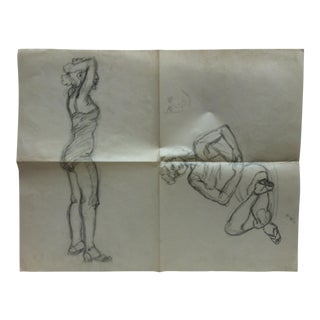 """Vintage Original Drawing on Paper, """"Sexy in Lingerie"""" by Tom Sturges Jr., 1949 For Sale"""