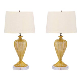 1960s Barovier E Toso Murano Lamps - a Pair For Sale