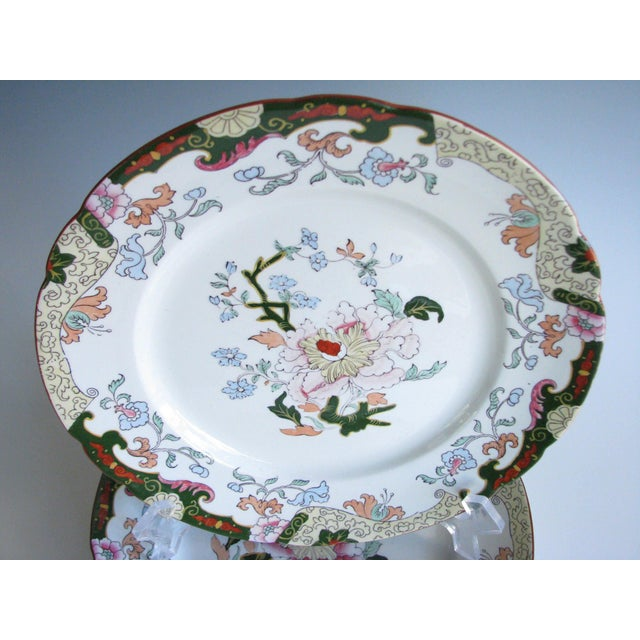 Set of 5 antique 1900s hand-painted dinner plates with beautiful floral design and stunning colors. Made by Ashworth...