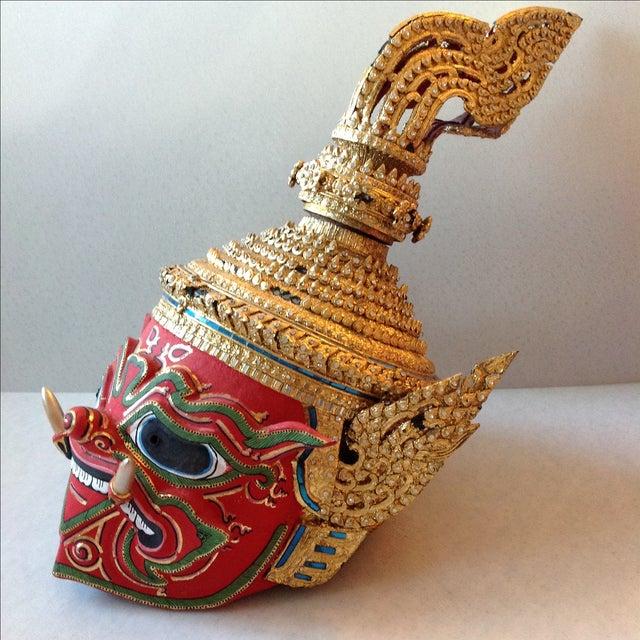 Antique Thai Demon Khon Mask - Image 6 of 11