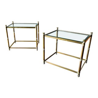 Pair of Hollywood Regency Brass and Beveled Glass Side Tables, Circa 1970 For Sale