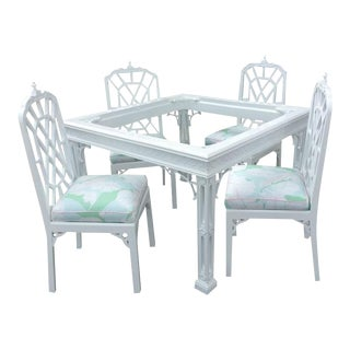 Vintage Pagoda Lacquered Game Dining Table and Chairs - Set of 5