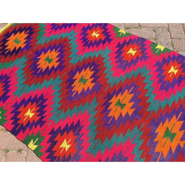 Textile Hot Pink Turkish Kilim Rug For Sale - Image 7 of 10
