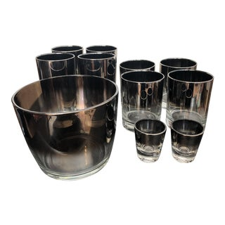 Silver Ombré Ice Bucket & Glasses - Set of 11