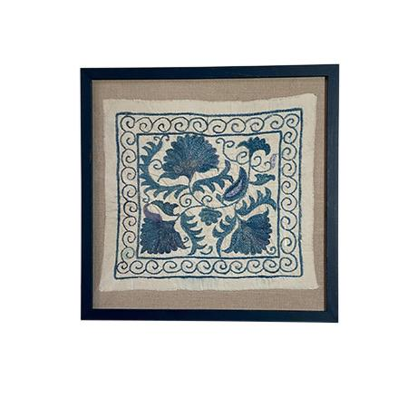 Wood Framed Antique Suzanni Floated on Belgian Linen For Sale - Image 7 of 7