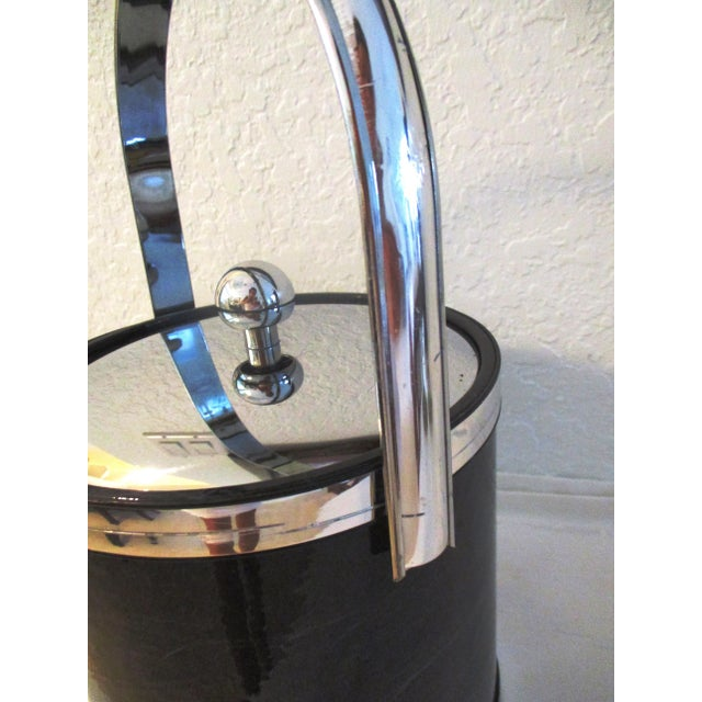 Art Deco 1970s Kraftware Silver & Black Faux Marble Ice Bucket For Sale - Image 3 of 7