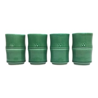 Green Ceramic Bamboo Style Sake Cups or Bud Vases - Set of 4
