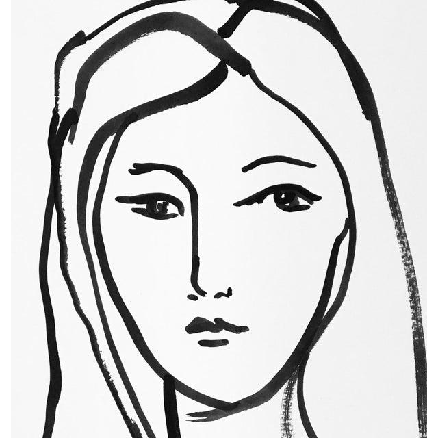 Ink contour portrait of a girl.