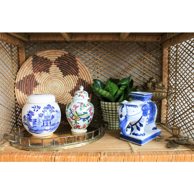 White Colorful Vintage Lidded Ginger Jar For Sale - Image 8 of 10