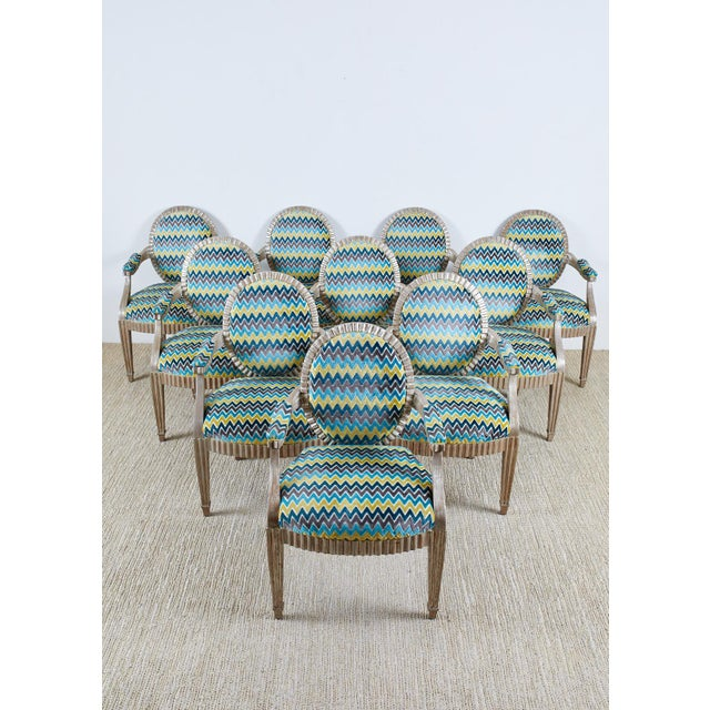 Donghia Late 20th Century John Hutton for Donghia Silvered Dining Chairs - Set of 10 For Sale - Image 4 of 13