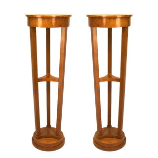 19th Century Austrian Biedermeier Style Maple Pedestals - a Pair For Sale