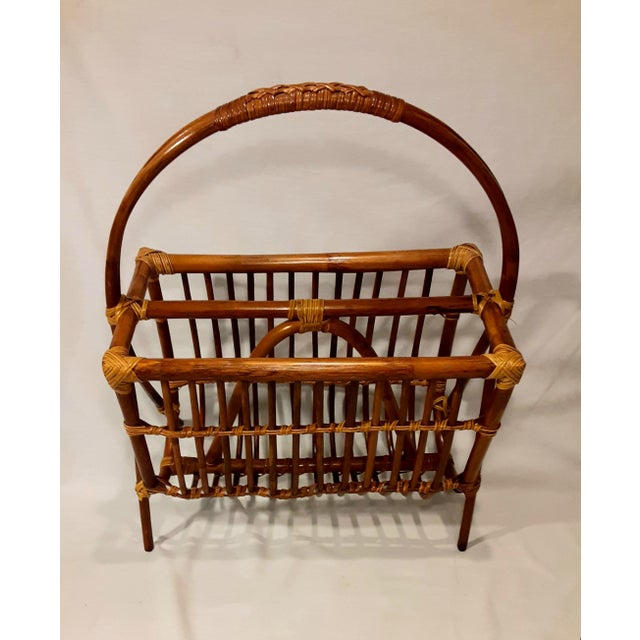 Brown Vintage Mid Century Modern Franco Albini Style Rattan & Bamboo Magazine Rack For Sale - Image 8 of 8