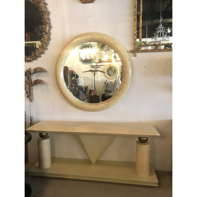 Enrique Garcel Vintage Bone Brass Console Table and Wall Mirror Set For Sale - Image 4 of 13