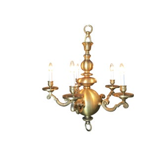 English Georgian Style Solid Brass 5 Arm Chandelier For Sale