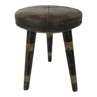 Early 20th Century Vintage Swedish Leather Topped Stool For Sale