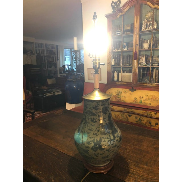 Antique Chinese Hu Form Blue & White Smooth Glaze Ko Ware Vase Lamp For Sale - Image 11 of 12