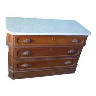 Marble Top Dresser With Carved Wood Handles