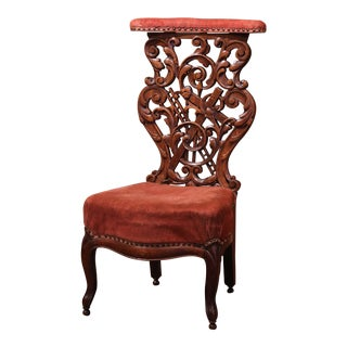 19th Century French Louis Philippe Hand Carved Oak Prayer Bench With Velvet For Sale