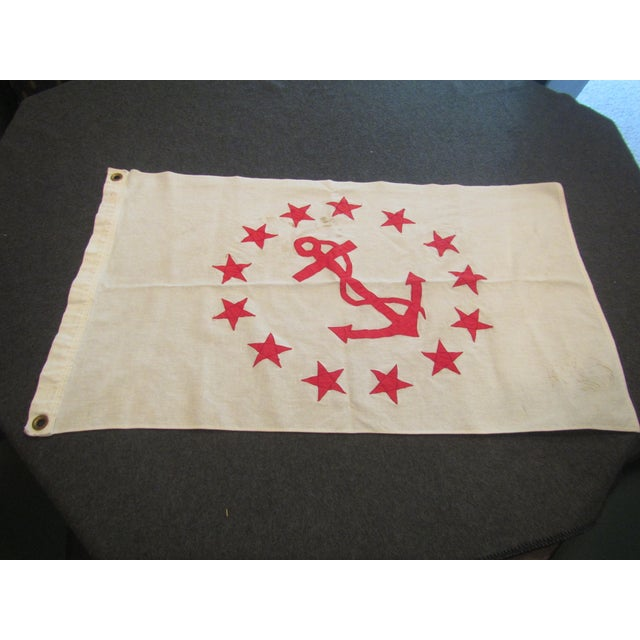 This Authentic Vintage Rear Commodore Anchor Star Yachting Flag Has flown on many journeys, but would look great in almost...